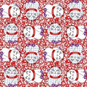 Maneki neko lucky cats, 4 directional on lucky 8s by Su_G