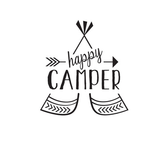 Happy Camper Pillow - Black