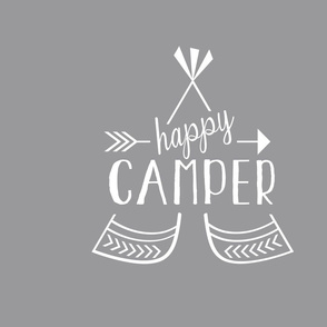 Happy Camper Pillow - Gray