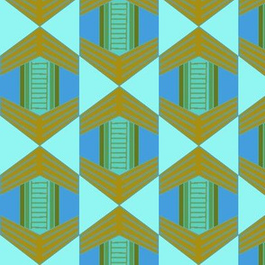 African Hexagon Weave Drop Blues and Greens Large