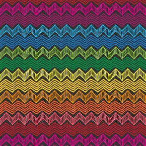 Rainbow Chevron Waves (Dark)