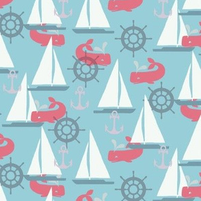 Sailboats on Blue with Whales