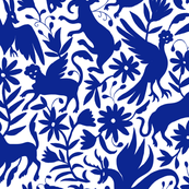 Mexican Otomi Animals - Large Navy
