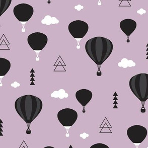 Geometric black and white hot air balloon triangle sky illustration scandinavian purple sky clouds style fabric