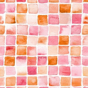watercolor squares in orange and red