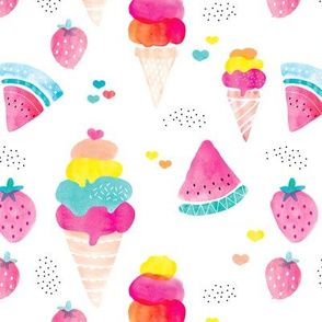 Colorful summer fruit ice cream water melon and strawberry illustration watercolors print