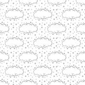 Cloud 9 Grey & White Clouds & Stars