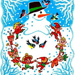 snowman snow winter birds winter elf elves Merry Christmas pixies imps gnomes dancing dance celebrating playing celebration vintage retro children