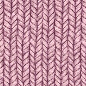 Salmon Pink & Maroon Chunky Knit Pattern