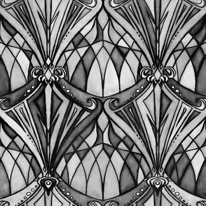 Black and Charcoal Grey Art Deco Pattern