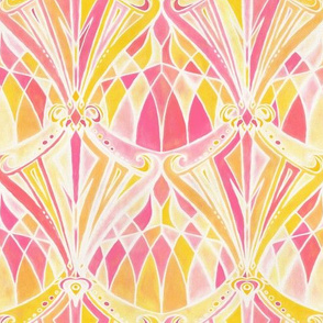 Hot Pink, Peach and Orange Art Deco Pattern