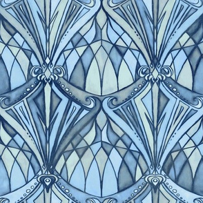 Navy, Blue and Grey Art Deco Pattern