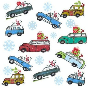 Vintage cars  Snowfall Holiday