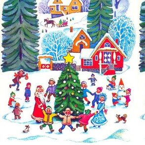 Santa Claus winter snow trees snowballs children snowman sleigh baubles dogs dancing cottages houses horses forests christmas boys girls