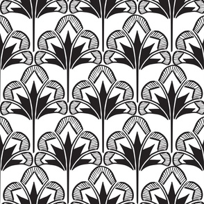 Floral Clamshell Black and White