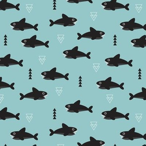 Cool gray geometric baby shark australian theme fish illustration in scandinavian blue green for kids