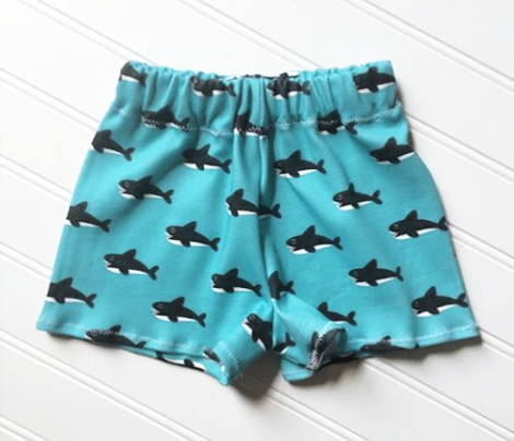 Cute blue baby shark australian theme fish illustration in retro colors for kids