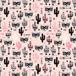 Fun raccoon cactus garden indian summer arrow geometric illustration pattern kids print pink XS