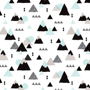 Geometric mountain illustration winter woodland