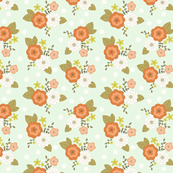 Minty floral with white polka dots 2