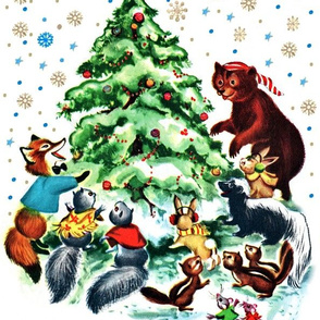 Merry Christmas snow winter flakes stars trees foxes squirrels rabbits bunny rats mouse mice bears skunks vintage retro kitsch celebration animals