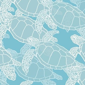 Sea Turtle Migration in Blue & Light Blue/Grays