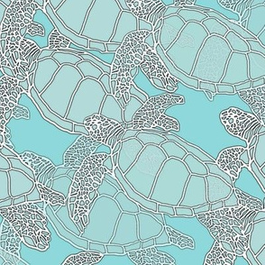Batik Blue & Gray Toned Sea Turtles