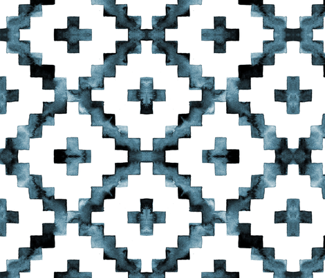 Watercolor Diamond Chevron - Blue-ish