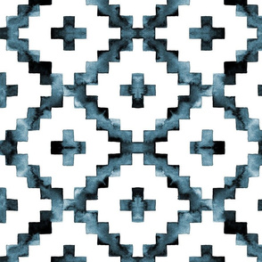 Watercolor Diamond Chevron - Blue-ish