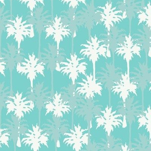 Palm Trees in White & Gray on Aqua
