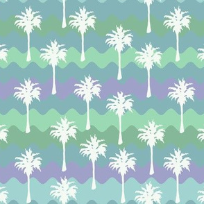 Ribbon Waves with White Palm Trees