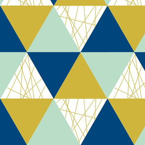 Navy Mustard Mint Triangle Cheater Quilt - Triangle Baby Blanket