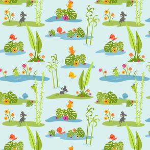 Little Cuties Jungle Scene: Blue