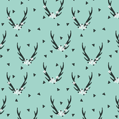 Antlers with Flowers - (Smaller Version) Pale Turquoise by Andrea Lauren