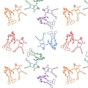 Colorful Giggling Robots with a white background