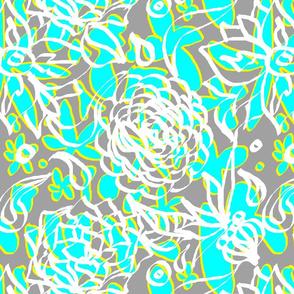 Summer Aqua Grey Floral