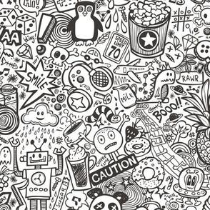 Comic Pop art  Doodle Black&White