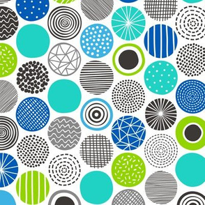Dots Geometric Abstract Pattern Blue Mint
