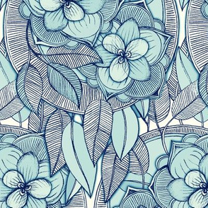 Teal Magnolias – a hand drawn pattern