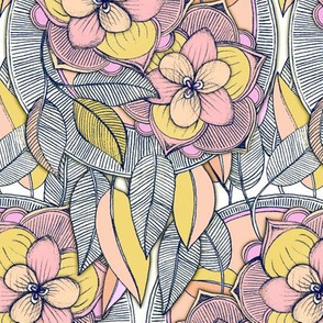 Pink and Peach Linework Floral Pattern