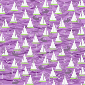 Sailboats, Whales in Purples & Greens