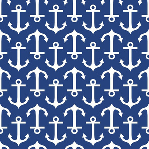 Large Anchor Navy and White
