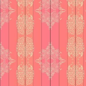 Mehndi Paisley swirl coral gradient