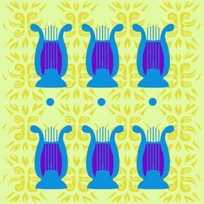 Blue Lyres in a Row