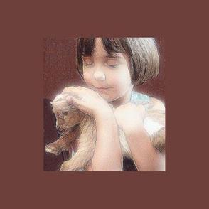 Blissful Little Girl Holding Miniature Goat