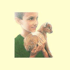 Little Boy and Miniature Baby Goat