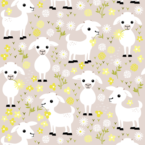 Baby goats on grey - small