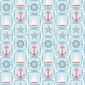 Sailing Away Squares with Anchors, Sailboats, Nautical Star & Ships Wheel