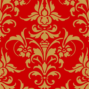 The Joan Damask ~ Gilt Sand on Richelieu Red