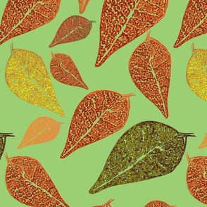 Autumn leaf green